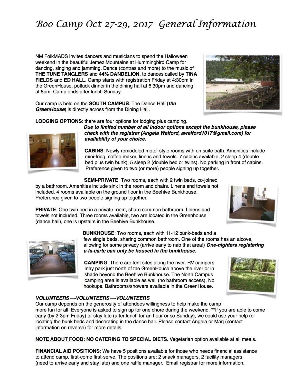 2017-08-13 Boo Camp General Info